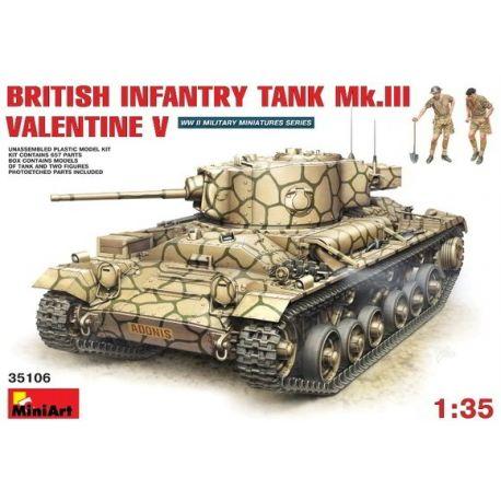 British Infantry Tank Mk.III VALENTINE V + 2 Figuras