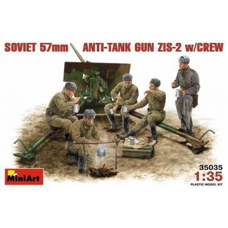 Cañón Soviético 57 mm ZIS-2 + Tripulación