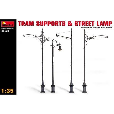 Soportes de tranvia y lámpara de calle