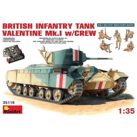British Infantry Tank VALENTINE MK.I + 5 Soldados