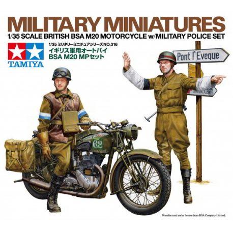 British BSA M20 Motorcycle w/Military Police Set