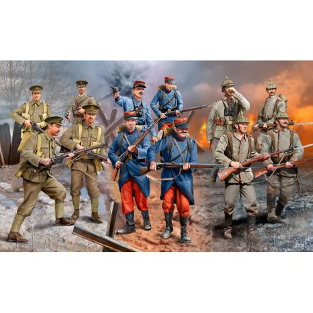 WWI INFANTRY German/British/French- 1914 (12 figuras)